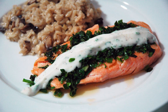basil yogurt salmon