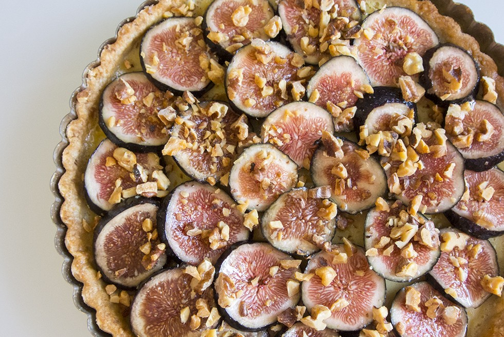 Lemon and honey tart with walnut crust and honeyed figs