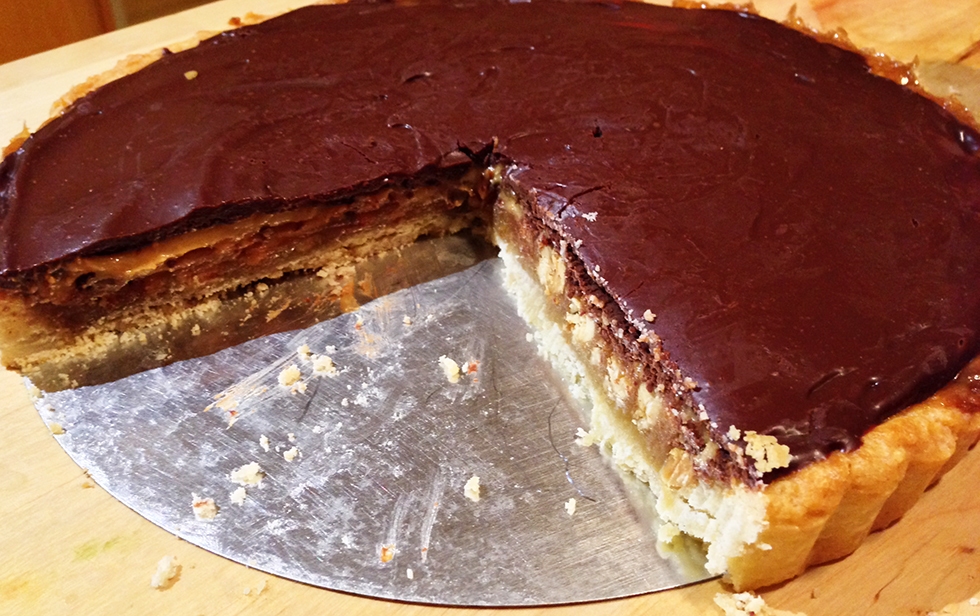 Peanut butter-honey tart with ganache glaze | Gastronomical Wayfaring