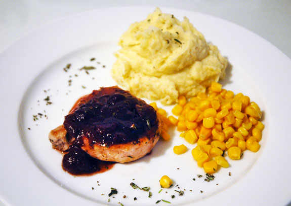 Pork chops with cranberry, Port and rosemary sauce | Gastronomical ...