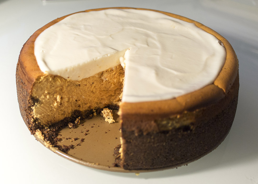 ... cheesecake with marshmallow-sour cream topping and gingersnap crust