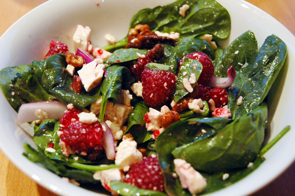 Spinach raspberry salad with feta and honey-roasted walnuts