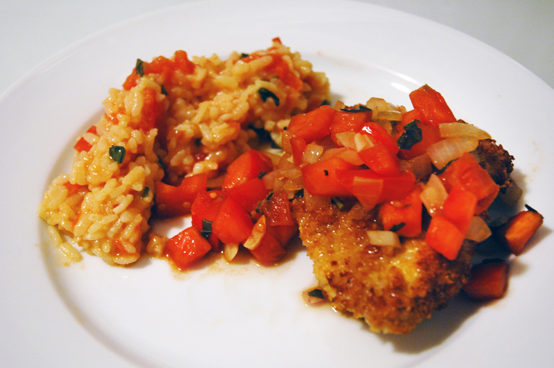 ... -coated pork chops with tomato-basil sauté and tomato risotto